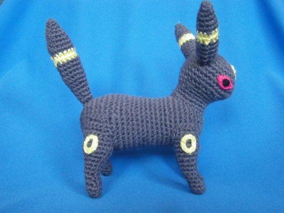 Amigurumi Umbreon crocheted Pokemon by HowToOwnACorner on Etsy, $43.00
