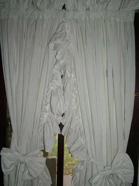 Shabby Chic Curtains, 8 Inch White Vintage Ruffle Curtains with bow T ...