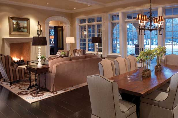 Luxury living dining room combo family and living rooms for Dining room game room combo