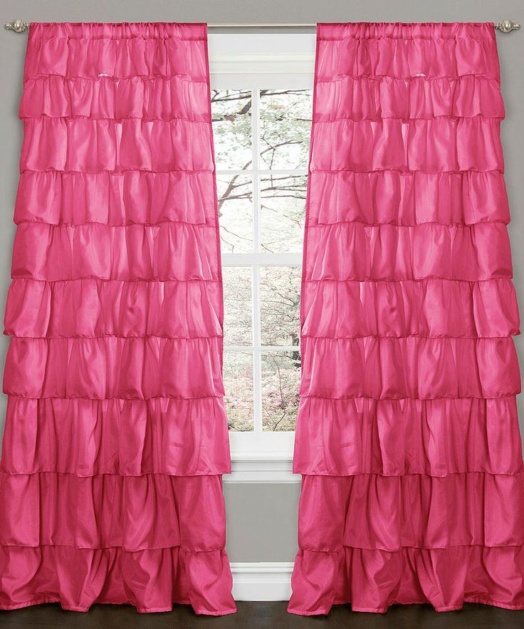 Pink Ruffle Window Curtain Panel