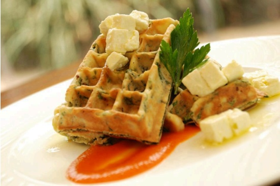 Spinach, Feta Waffle | Things that look scrumptious! | Pinterest