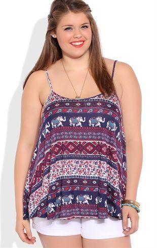 Deb Shops Plus Size Elephant Tribal Print Flowy Tank Top $12.75
