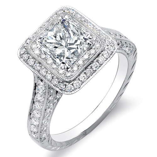 10 Ct Princess Cut Diamond Engagement Ring W Round Cut Duel Halo G ...