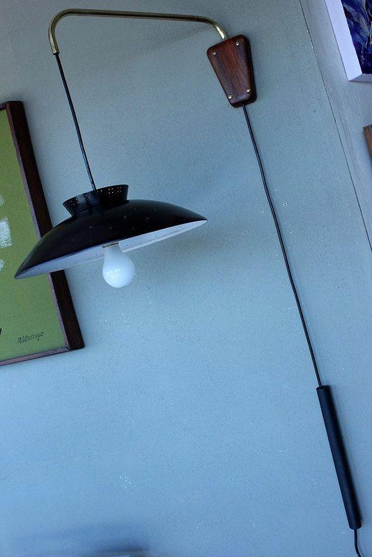 Mid Century Modern Wall Mounted Lights : Retro Wall Mounted Light / Mid Century Modern Lighting / Hanging Accent Light w Metal Shade