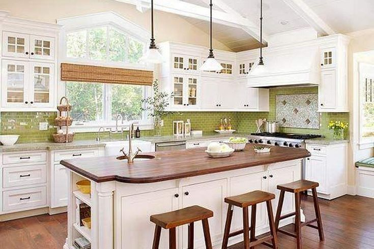 Chartreuse subway tile in the kitchen )  Kitchens  Pinterest
