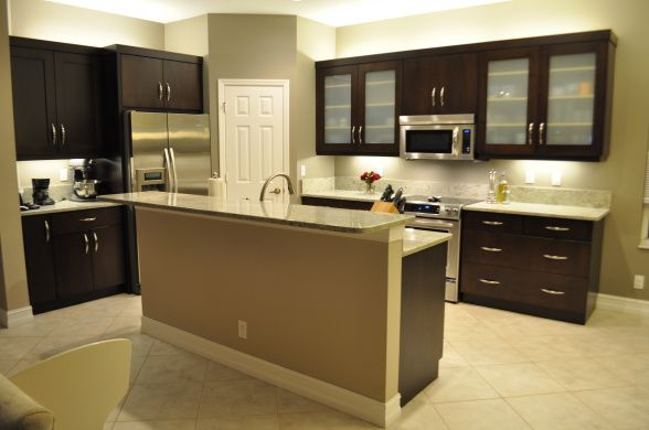 kitchen with dark cabinets & khaki walls  ideas  Pinterest