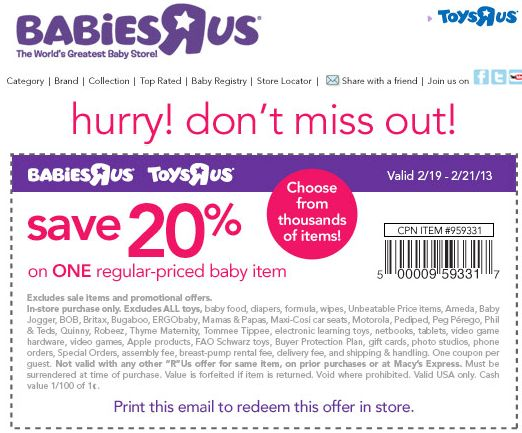 photo about Printable Babies R Us Coupons referred to as 20 off at toddlers r us - Refreshing Keep Offers