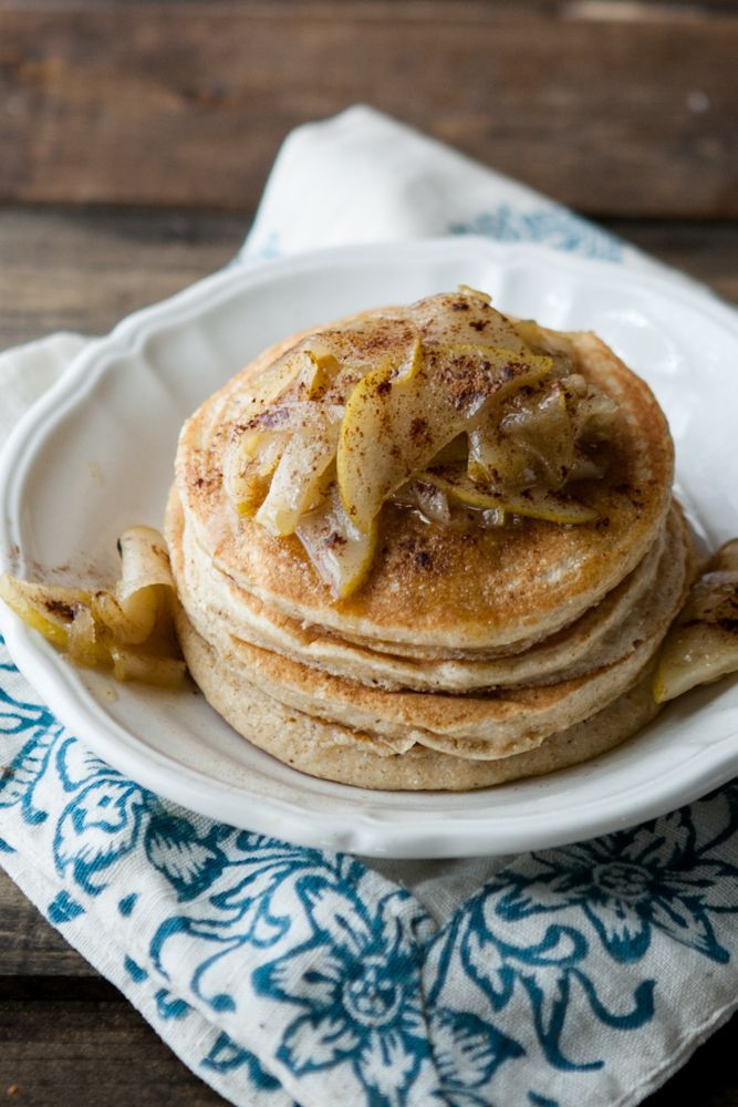 Vanilla Bean Pancakes with Maple Butter Pears - allowed flour, salt ...