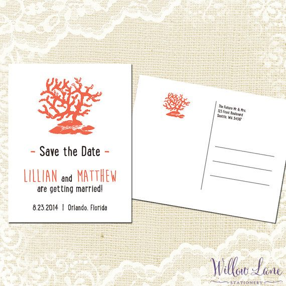 Save the date postcard sea coral save the date card beach wedding