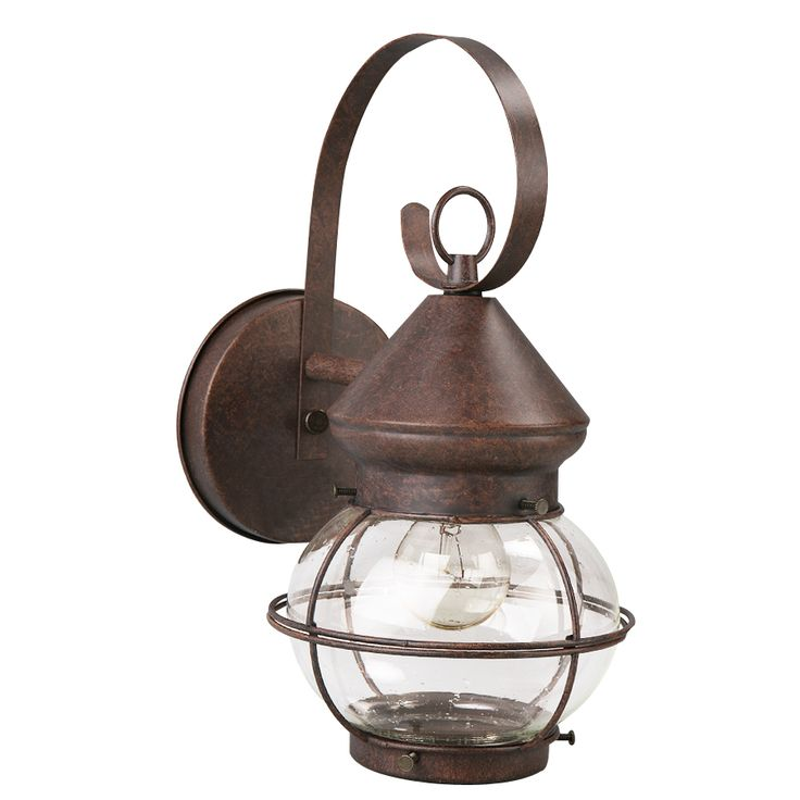 Portfolio 12.4-in H Rustic Brown Outdoor Wall Light LO2441RB