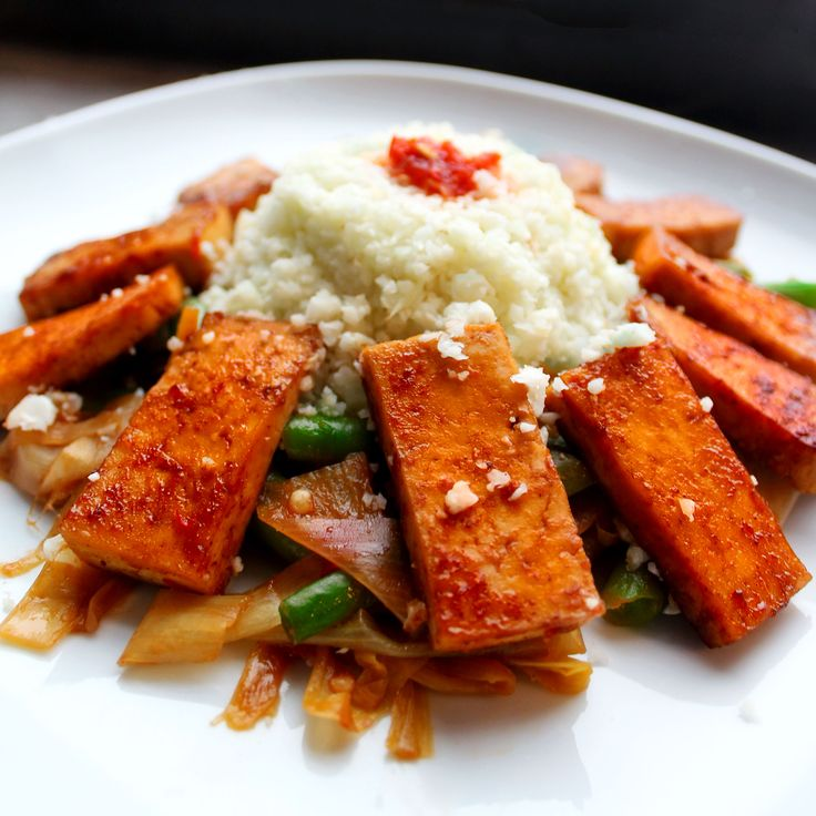 Sweet and Smoky Tofu over Spicy Leek Ribbons and Green Beans #vegan # ...