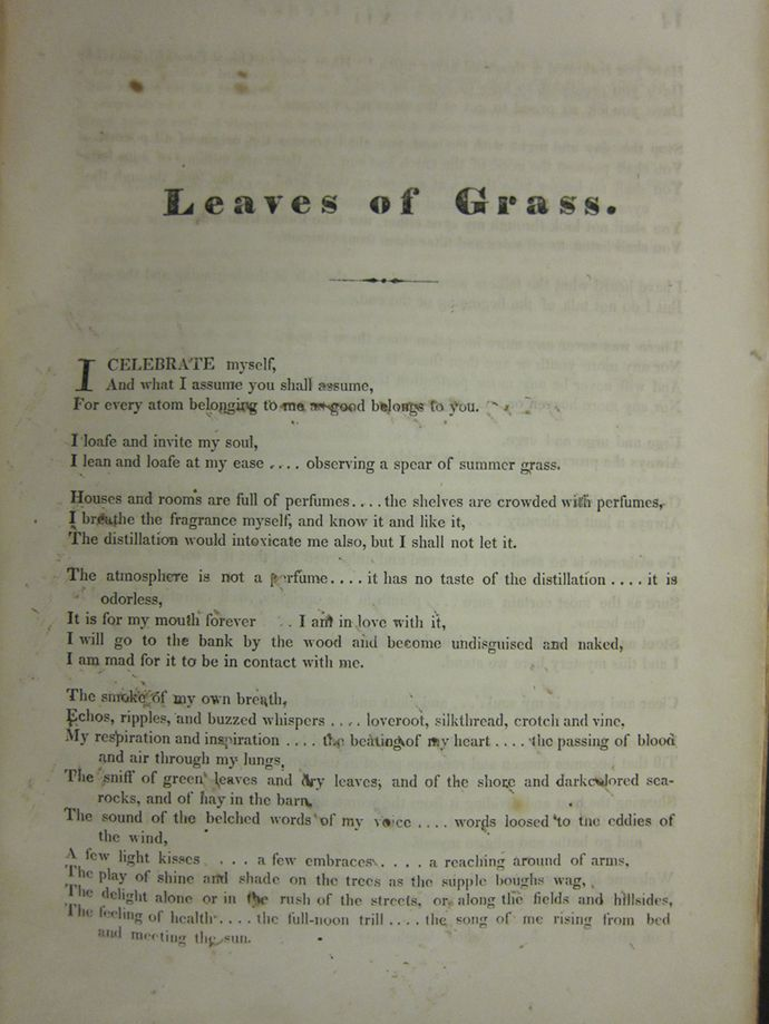 an analysis of walt whitmans leaves of grass This exhibit's core is leaves of grass in its many manifestations displayed are  selected whitman manuscript drafts and notes for poems written across the.