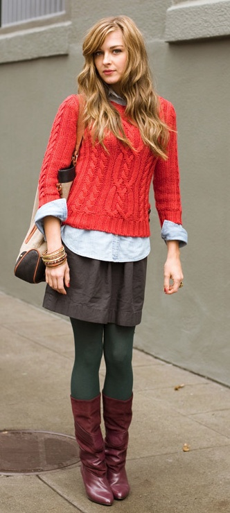 red cable sweater,leggings,skirt and knee long boots