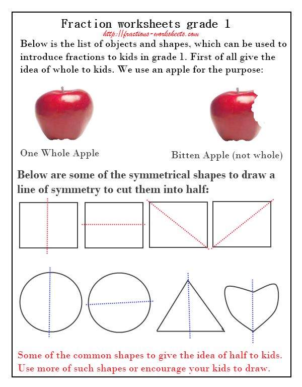 Free Fraction Worksheet For First Grade First Grade Fractions – Fraction Worksheet 1