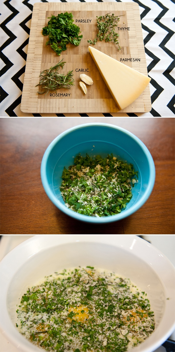 baked eggs with fresh herbs and bacon | food | Pinterest