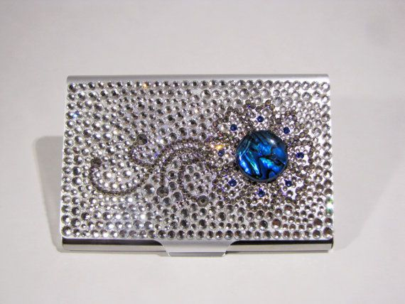 Blue henna bling business card case flower with paua id for Bling business card holder