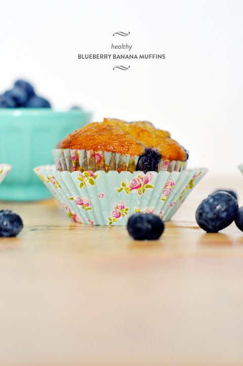 Healthy Blueberry Banana Muffins- Changed to all whole wheat flour ...