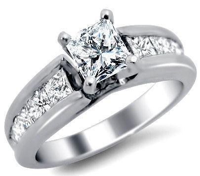 ladies platinum 1.65ct princess cut diamond engagement ring