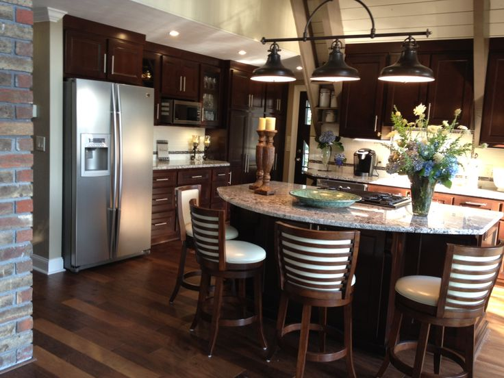 Pin by rachelle paquin harvey on kitchen heart of the for Galley kitchen with dining area