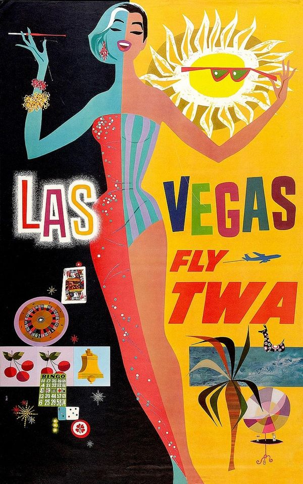 Vintage Las Vegas travel poster.
