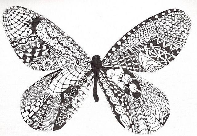 Tangled Butterfly by AK IceCube  via FlickrZentangles Butterfly