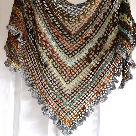 Crocheting A Shawl : Crochet Shawl In Gypsy Style in Maple Leaves - Made To Order