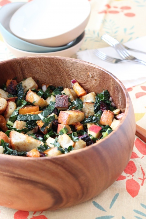 Winter Panzanella with homemade croutons, butternut squash, beets ...