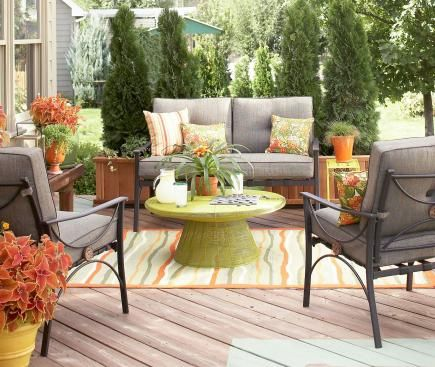 furnish your deck or patio with accessories that add an extra layer of