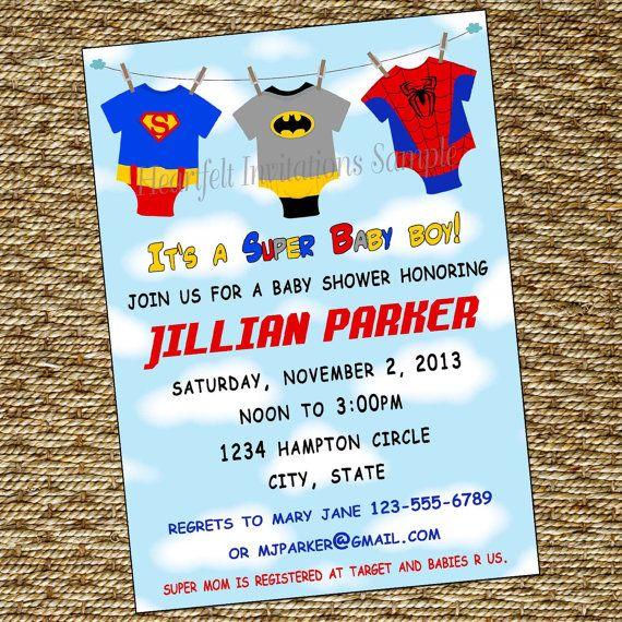 super baby shower invitation super hero babies onesie clothesline