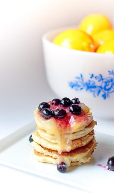 Meyer lemon ricotta pancakes with lemon curd and warmed blueberries
