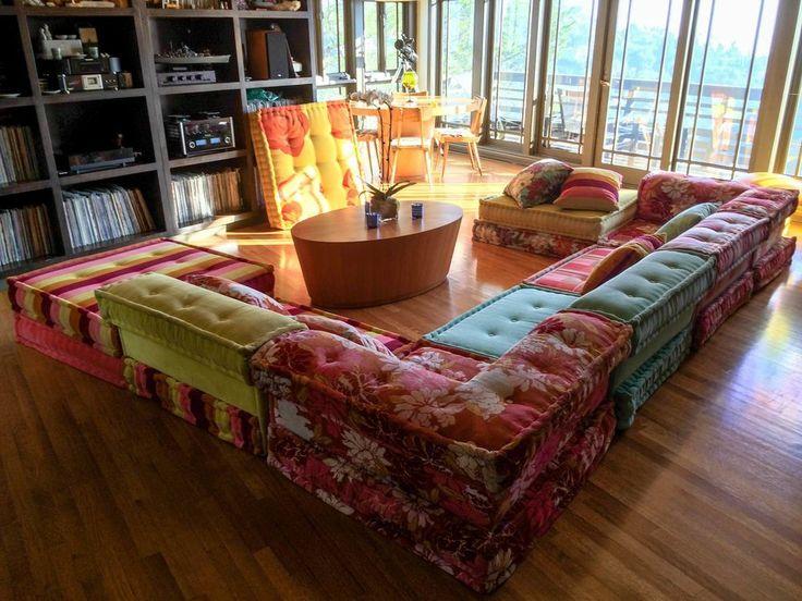 Roche bobois mah jong 10 piece sofa set kenzo fabric great condition - Prix mahjong roche bobois ...