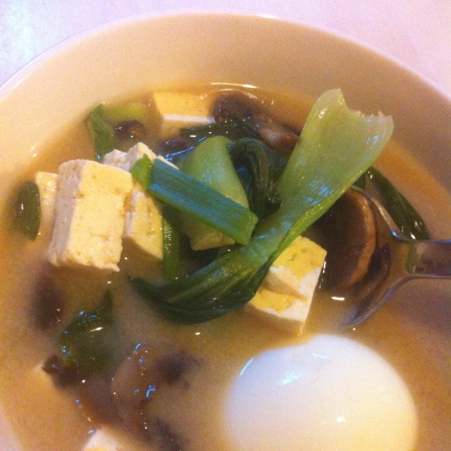 Bok Choy and Mushroom Miso Soup with tofu and egg - 5 minute meal