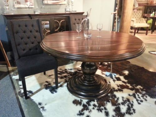 54 round black rubbed acacia wood dining table pedestal distressed f