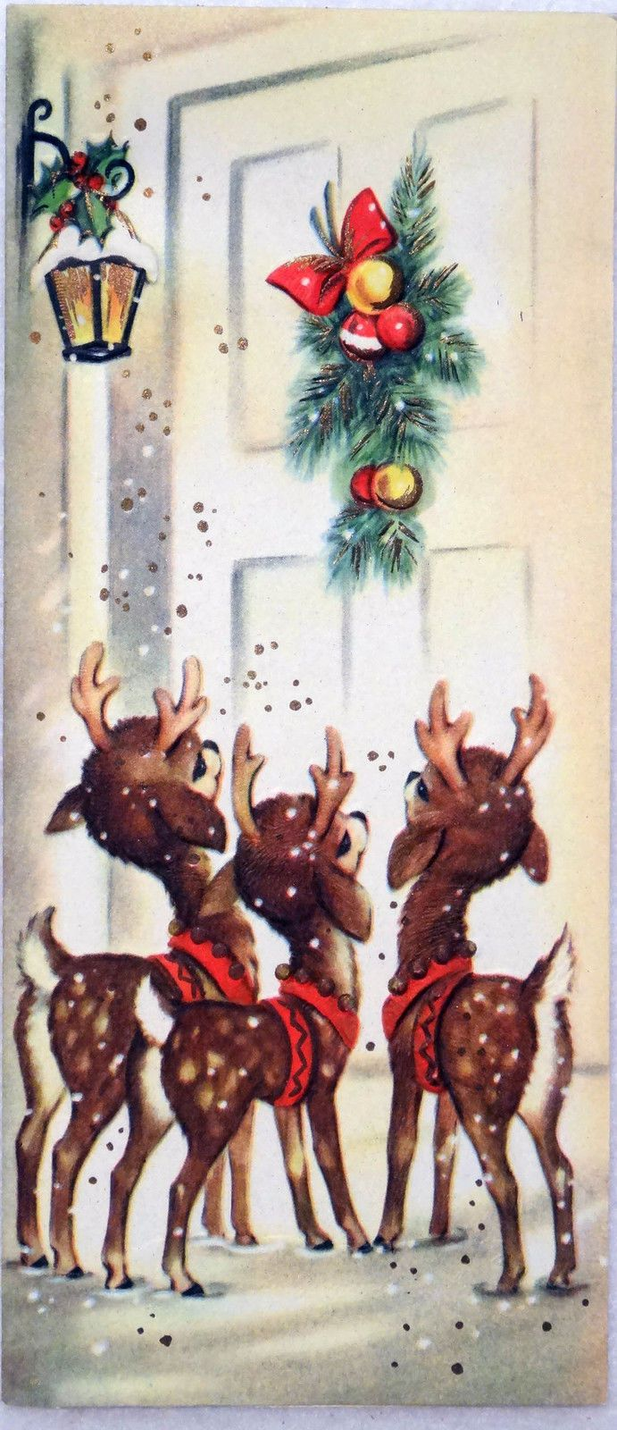 647 50s Deer at The time.  Vintage Christmas Greeting Card .  Brings memories of simpler days