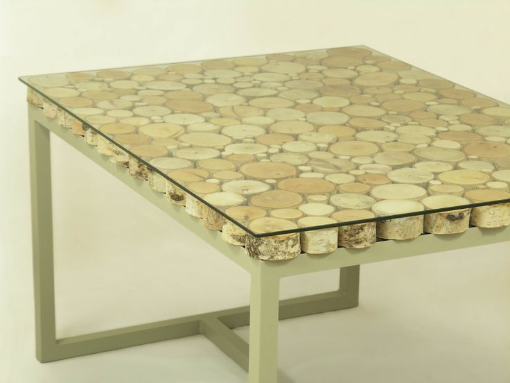 Handmade Small Birch Slices Wooden Coffee Table On A Recycled Steel L