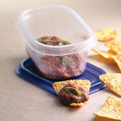 Zesty Bean Dip & Chips - Salsa Refried Beans Recipes - Delish.com Just ...