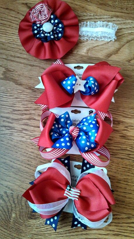 4th of july hair bows for babies