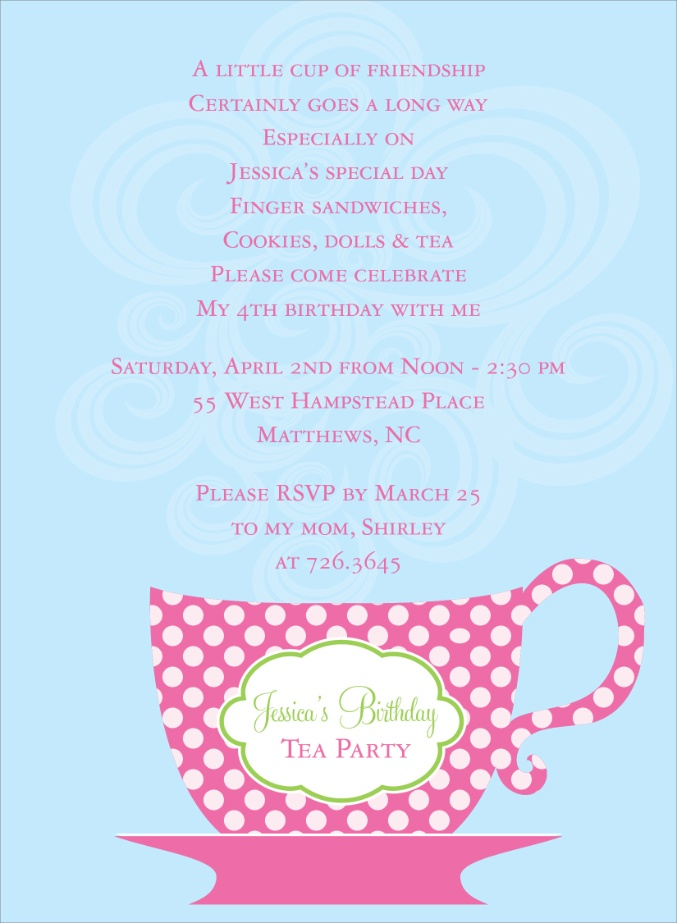 Tea Party Birthday Invitation Poem