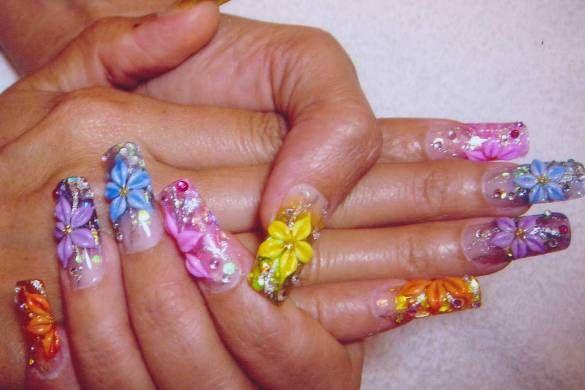 3d acrylic flowers and rhinestones cool nail art pinterest