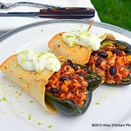 Poblano Stuffed Peppers Wrapped in Tortillas with Sour Cream Lime ...