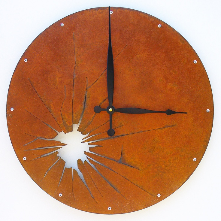 Shattered Metal Wall Clock I Extra Large Rusted