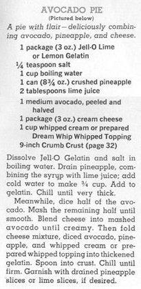 Avocado Pie from 1962 Joys of Jello cookbook (HT Retro Recipe Attempts)