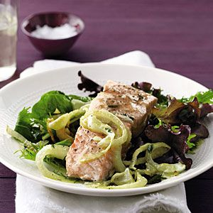Roasted Salmon With Thyme Vinaigrette Recipes — Dishmaps