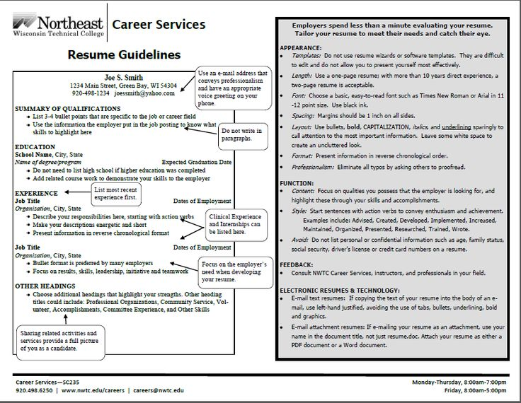 resume guidelines resume cover letter