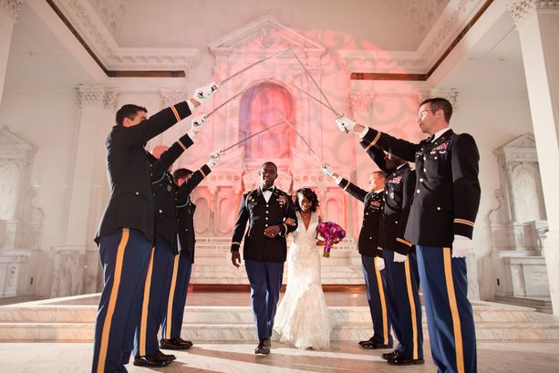 Wedding Exit - #weddings great way to exit in military style. also has been mimicked by many sports related groups... hockey sticks, footballs, lacrosse stick etc.