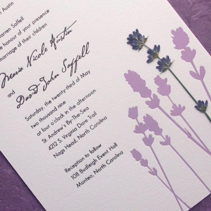 Lavender Field Pressed Flower Letterpress Wedding Invitation