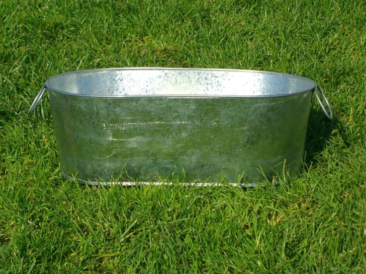 Large oval oblong galvanized wash party tub drink metal for Large metal wash tub
