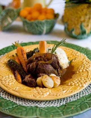 Braised Lamb Shank with Roasted Vegetables and Polenta with Mascarpone ...