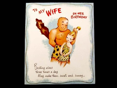 Caveman Wife : Vintage birthday card to my wife caveman ephemera