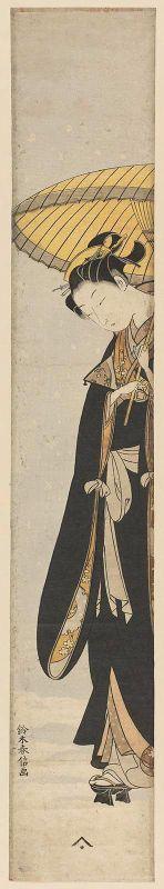 """Young Woman in Black Coat Walking in Snow with an Umbrella""  Japanese, Edo period, about 1768–69 (Meiwa 5–6)  Artist: Suzuki Harunobu, Japanese, 1725–1770  Woodblock print (nishiki-e);"